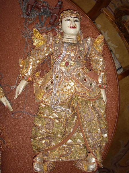 BALANESE CHILD BOY PUPPET HAND MADE  22 INCHES HIGH C1900-1920 ADORNED WITH SEQUINS & GOLD THREAD...