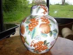 Antique LARGE GINGER JAR WITH CAPPED LID