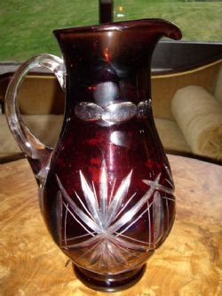 Antique LARGE DARK RUBY & CUT GLASS POURING JUG WITH STAR CUT DESIGN