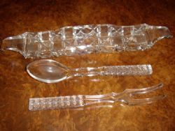 Antique FINE CUT GLASS SALAD BOAT & SERVERS C1920