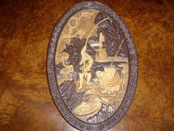 Antique BRETBY WARE ORIENTAL TERRACOTTA OVAL WALL PLACQUE DEPICTING MEN FISHING C1920