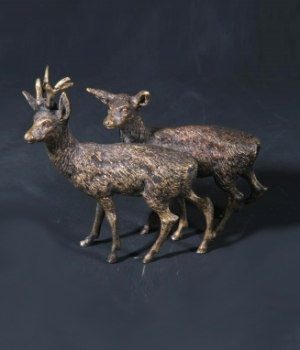 Antique 19th Century Viennese Bronze Of A Pair Of Deer
