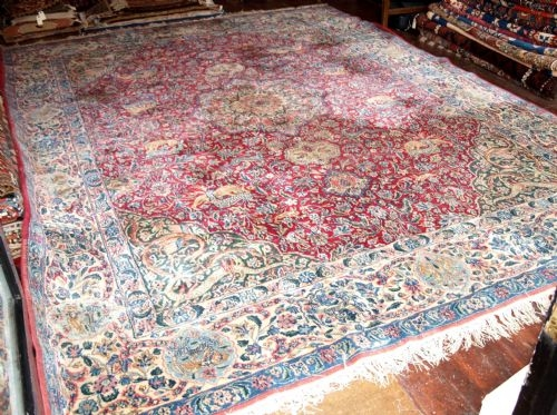 Antique OLD PERSIAN KIRMAN HUNTING DESIGN CARPET, CIRCA 1920
