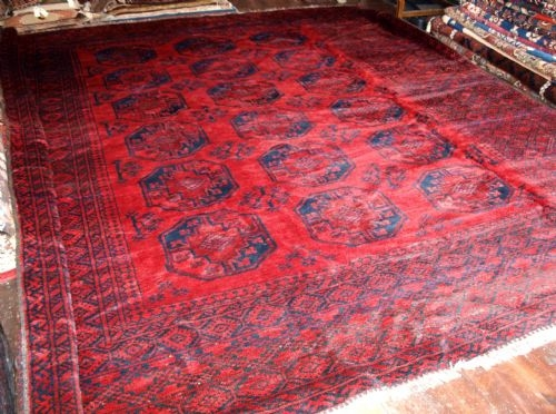 Antique OLD TRADITIONAL AFGHAN RED CARPET, LARGE SQUARE, CIRCA 1930.