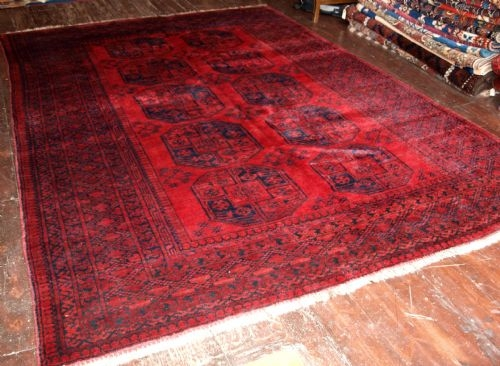 Antique TRADITIONAL OLD RED AFGHAN CARPET, THICK PILE, 60 YEARS OLD