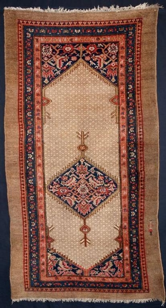 Antique ANTIQUE PERSIAN SARAB RUG, PEOPLE IN BORDER, CIRCA 1900