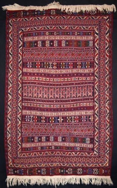 Antique OLD SOUTHERN PERSIAN AFSHAR SUMAKH KILIM, CIRCA 1960