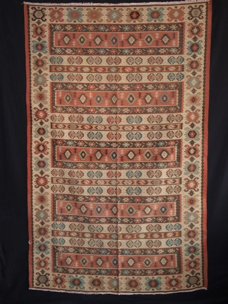 Antique ANTIQUE TURKISH SHARKOY KILIM, PASTEL COLOURS, CIRCA 1920
