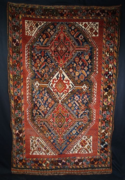 Antique ANTIQUE QASHQAI RUG, FULL PILE, GOOD COLOUR, LATE 19TH CENTURY