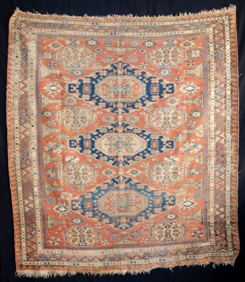 Antique STUNNING RARE DATED CAUCASIAN SOUMAK, 2ND HALF 19TH CENTURY