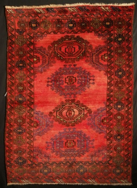 Antique Antique / old Afghan rug with Turkmen ?Salor? gul design. Circa 1920-1930.