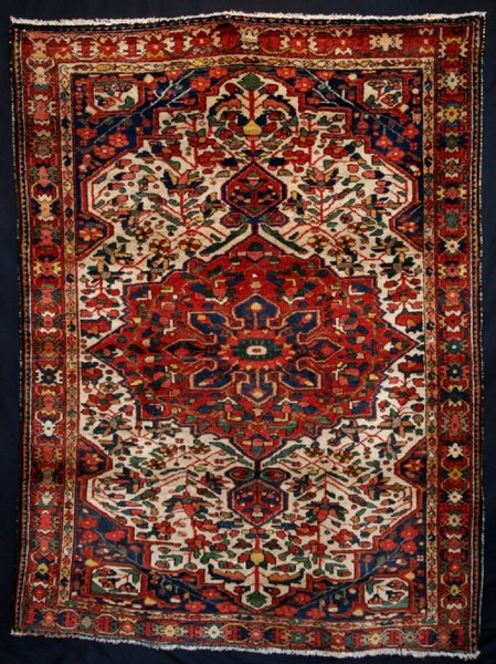Antique OLD PERSIAN BAKHTIARI RUG, FULL PILE, GOOD DESIGN, CIRCA 1930