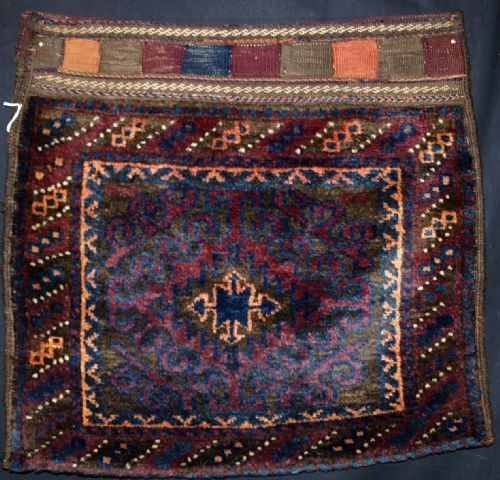 Antique OLD AFGHAN BALUCH MUSHWANI BAG WITH BACK, CIRCA 1920.