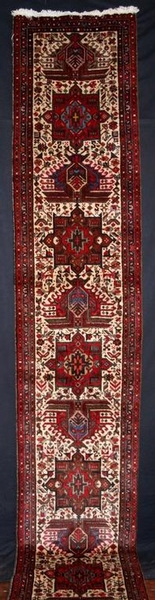 Antique OLD N W PERSIAN RUNNER, NARROW SIZE, IVORY GROUND, CIRCA 1950