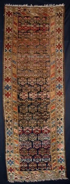 Antique ANTIQUE N W PERSIAN KURDISH RUNNER, SHRUB DESIGN, CIRCA 1900