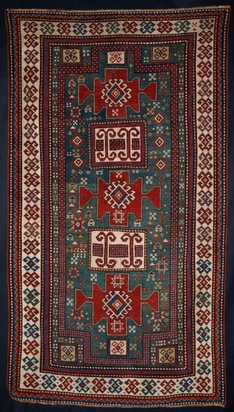 Antique ANTIQUE KARACHOPH KAZAK, GREEN GROUND, 2ND 1/2 19TH CENTURY