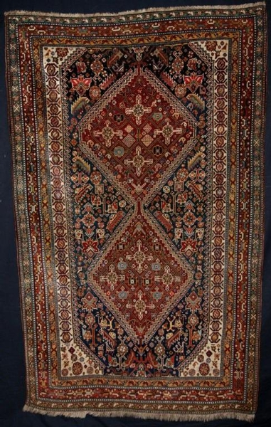 Antique ANTIQUE SOUTH WEST PERSIAN QASHQAI RUG, TWO MEDALLIONS, CIRCA 1900.