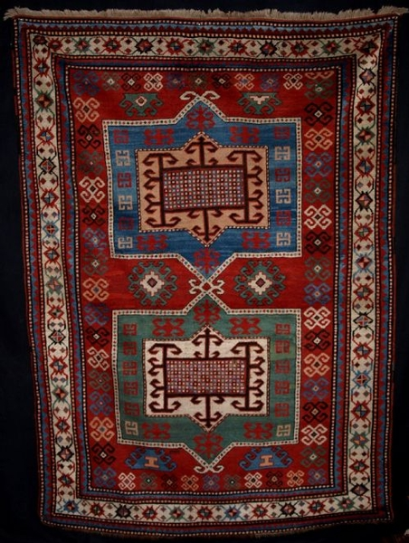 Antique ANTIQUE TWO MEDALLION FACHRALO KAZAK, SUPERB COLOUR, CIRCA 1880