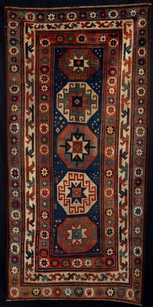 Antique ANTIQUE KAZAK RUG WITH MEMLINC GULS SUPERB, 2ND 1/2 19TH CENTURY