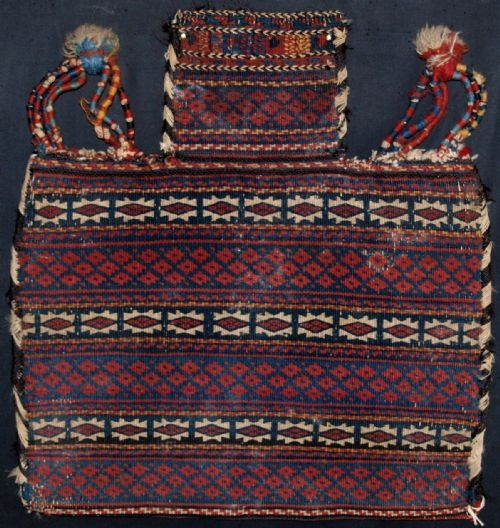 Antique ANTIQUE KURDISH FLATWOVEN WEAVE SALT BAG, CIRCA 1900