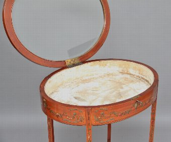Antique Early 20th Century satinwood and painted bijouterie table