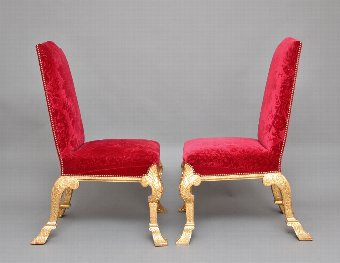 Antique A pair of George I style gilt wood chairs