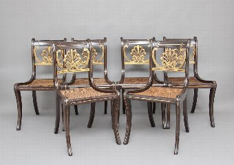Antique Set of six 19th Century Regency chairs