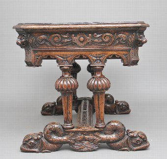 Antique 19th Century carved oak writing table