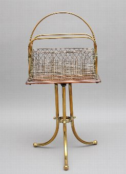 Antique 19th Century brass and mahogany magazine rack