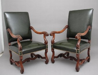Antique Pair of early 19th Century carved walnut armchairs