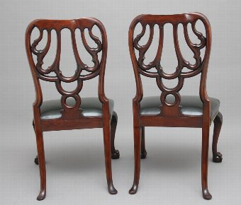 Antique Pair of 19th Century carved mahogany side chairs