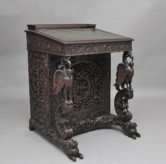 Antique 19th Century Anglo-Indian carved davenport
