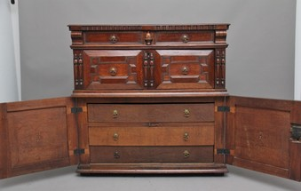 Antique 17th Century oak enclosed chest of drawers
