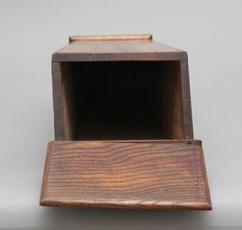 Antique 19th Century elm and fruitwood candle box
