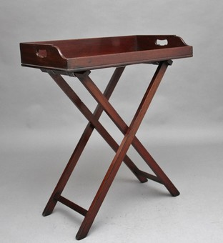 Antique Early 19th Century mahogany butlers tray on stand