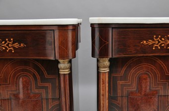 Antique Pair of early 19th Century Spanish marble top commodes