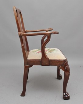 Antique 18th Century walnut open armchair