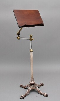 Antique 19th Century brass and mahogany reading stand