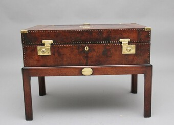 Antique Early 20th Century leather bound ex army trunk on stand