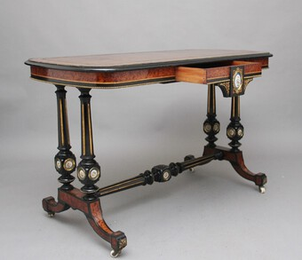 Antique 19th Century amboyna and ebonised sofa table