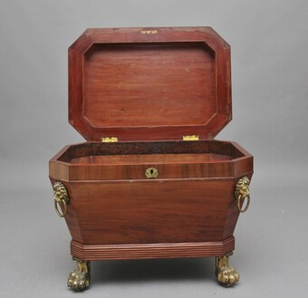 Antique Regency mahogany sarcophagus wine cooler