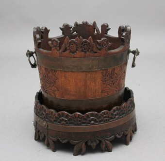 19th Century carved oak bucket and stand