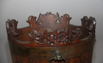 Antique 19th Century carved oak bucket and stand