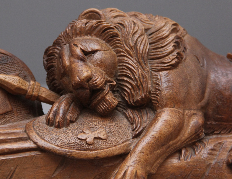 Antique 19th Century carving of the lion of Lucerne