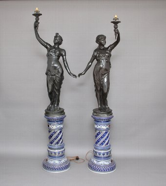 Antique Pair bronze figural lamps on china bases
