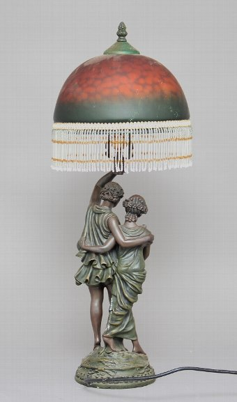 Antique Bronze and glass table lamp