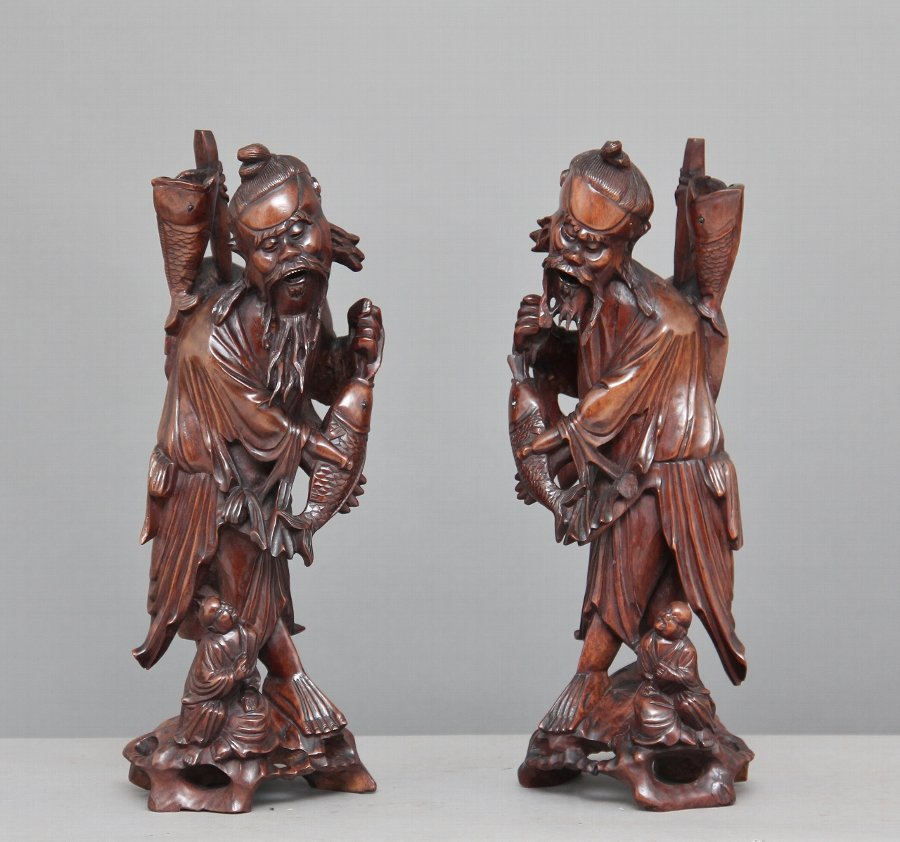 Pair 19th Century Chinese figures