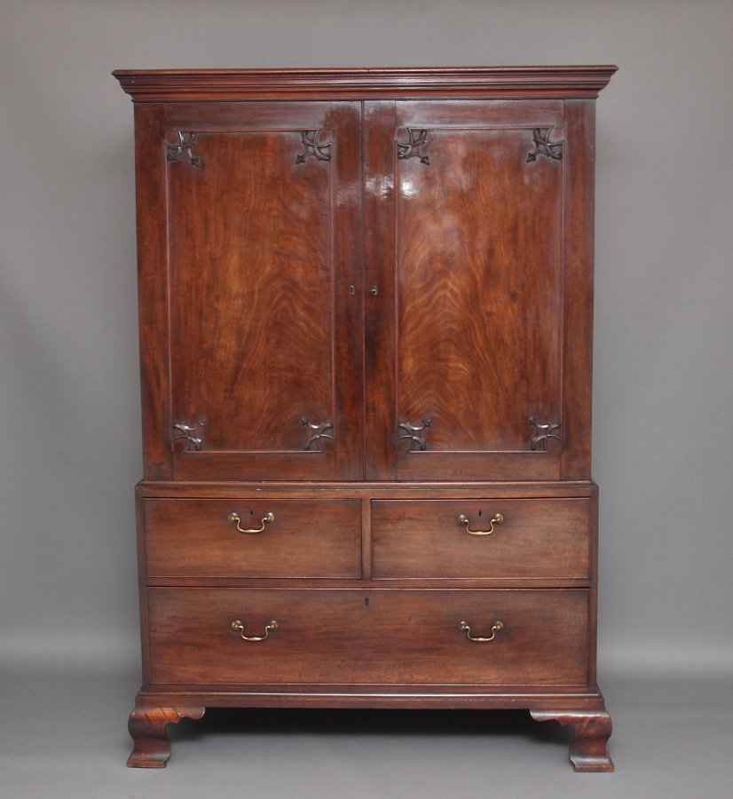 18th Century mahogany press cupboard