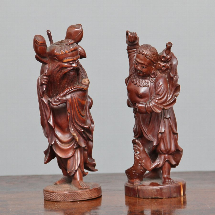 pair 19th Century Chinese root carvings