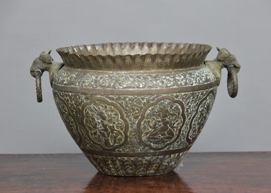 19th Century engraved brass bowl